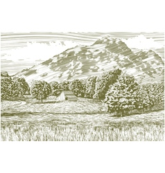 Woodcut Barn and Mountain Landscape vector image