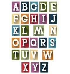 Colorful retro alphabet vector image