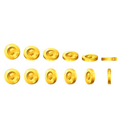golden coins for animation vector image vector image