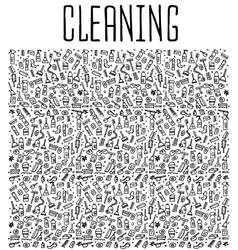Hand drawn cleaning tools seamless pattern vector image vector image