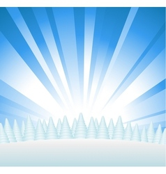 Snowy forest on hill vector image