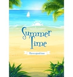 Summer time - beach and sea boat vector image vector image