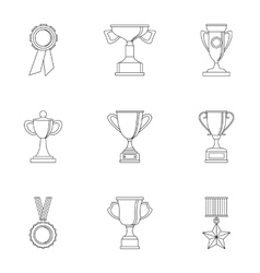 Victory icons set outline style vector image