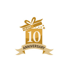 10 years gift box ribbon anniversary vector