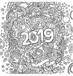 2019 hand drawn doodles contour line vector