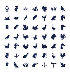 49 bird icons vector