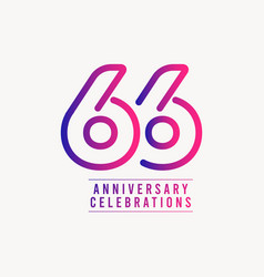 66 years anniversary celebration number template vector