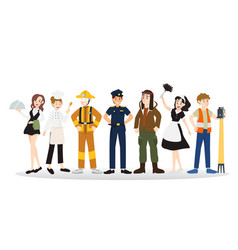 A group of people of different professions design vector