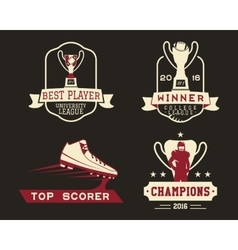 American football badge with winner cup sport vector