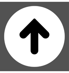 Arrow Up flat black and white colors round button vector