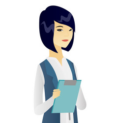 Asian female office worker holding a clipboard vector
