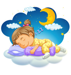 Baby girl sleeping at night vector
