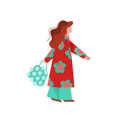 beautiful woman dressed in bright stylish seasonal vector image