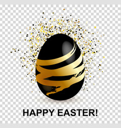 Black easter egg with gold decorative lines and vector