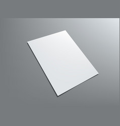 Blank portrait a4 white paper isolated on gray vector