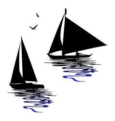 boats silhouettes - for designers vector image