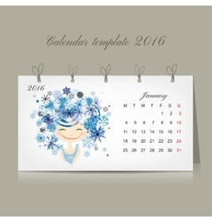 Calendar 2016 january month Season girls design vector