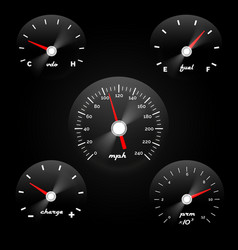Car dashboard gauge on black background speed vector