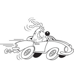 Cartoon dog driving a car vector