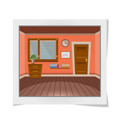 cartoon photo frame with interior office room in vector image
