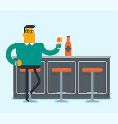 caucasian white man sitting at the bar counter vector image