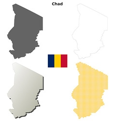 Chad outline map set vector image
