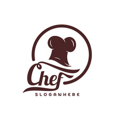 chef hat logo template chef emblem design food vector image