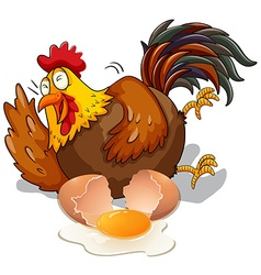 Chicken laughing and cracking egg vector image