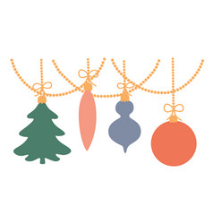 christmas toys hang on a garland vector image