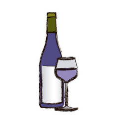 Color blurred silhouette with bottle of wine and vector