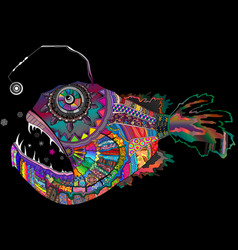 Colorful rainbow palette deep abyssal angler fish vector