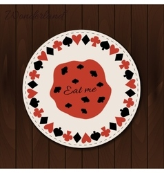 Cookie- drink coaster from Wonderland on Wooden vector