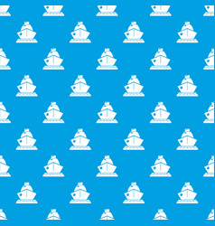 cruise ship pattern seamless blue vector image