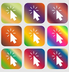 Cursor icon sign Nine buttons with bright vector image