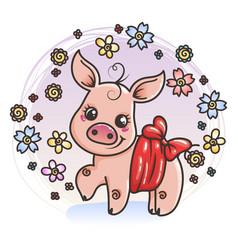 cute cartoon baby pig in love vector image