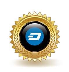 dash cryptocurrency coin gold badge vector image