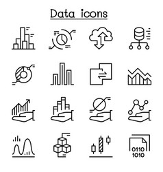 Data diagram graph infographic icon set in thin vector