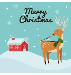 Deer and bird cartoon of christmas design vector