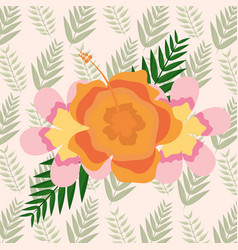 delicate exotic flowers foliage background vector image