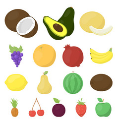 Different fruits cartoon icons in set collection vector