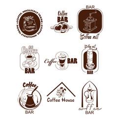 Doodle coffee logos set vector