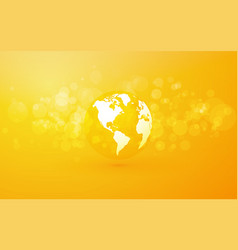 earth globe with america abstract yellow vector image