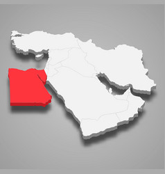 Egypt country location within middle east 3d map vector