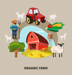 farm cartoon composition vector image