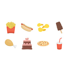 Fast food icons in set collection for designfood vector