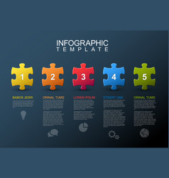Five steps infographic with puzzle pieces vector