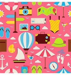 Flat Travel Resort Vacation Seamless Pattern vector image
