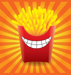 funny french fries on striped background image vector image