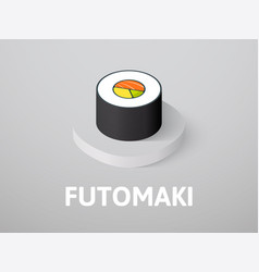 Futomaki isometric icon isolated on color vector