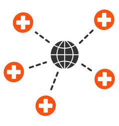 Global medical relations flat icon vector